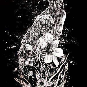 Le Corbeau, sérigraphie en blanc sur papier noir