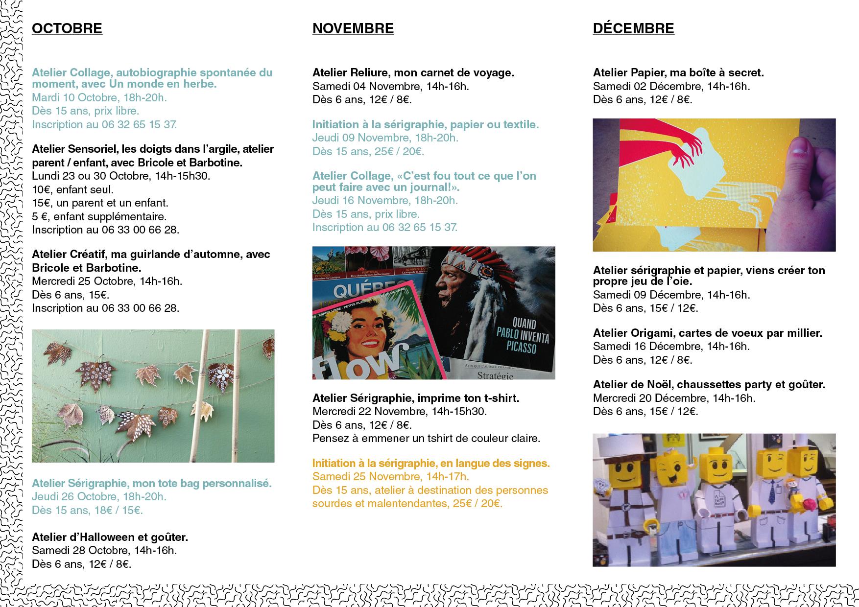 activités ateliers programme octobre novembre décembre